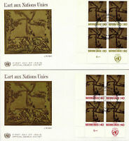 UNITED NATIONS 1972 ART AT THE UN BLOCKS 4 ON 2 FIRST DAY COVERS GENEVA SHS