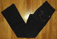 ROCK &  REPUBLIC DESIGNER JEANS HENLEE STUDDED LOGO WASTED BLUE SIZE 33
