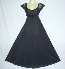 """Vtg Olga Black With Nude Chiffon Dramatic 110"""" Sweep Lace Quality Nightgown S"""