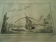 Gravure 1837 - Brézil Brazil  Caboclos Indiens civilisés chasse arc