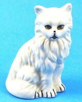 Vintage Cat Figurine White Cat Kitten Blue Eyes Vintage Ceramic Mint EUC