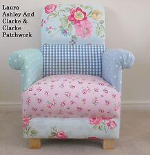 Laura Ashley Blue Duck Egg Gingham Fabric Patchwork Chair Shabby Chic Nursery