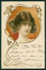Art Nouveau Lady Relief postcard TC4852