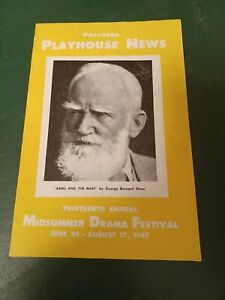 Vintage 1947 Pasadena Playhouse News Arms and the Man  George Bernard Shaw A#