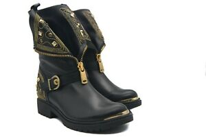 LucyToni UK Biker Boots Black Leather Gold Studded Front Side Zip and Buckle