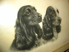 Leon Danchin etching Cocker Spaniels Hand painted eyes Premier Dog Artist Signed