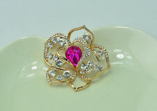 "BOXED ROMANTIC 2.2"" CUT-OUT HOT PINK ROSE DIAMANTE  CRYSTAL BROOCH PIN"