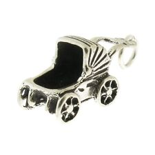 925 Sterling Silver Baby Buggy Carriage Charm Made in USA