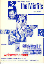 """THE MISFITS Sheet Music """"Theme From"""" Marilyn Monroe Clark Gable Montgomery Clift"""