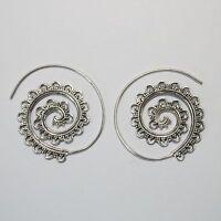 Vintage-Creolen Silber 925  Durchzieher Ohrringe, Spirale, Hippie Schmuck dts