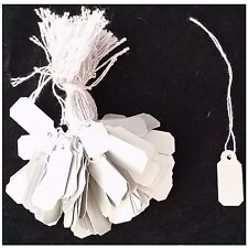 Plastic String Tags White Jewelry price 10x22mm Non Tear Waterproof 100pcs