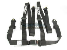 Sparco Racing Seat Belt Safety Harness Street Tuner Black 2-Inch 4-Point Bolt-In