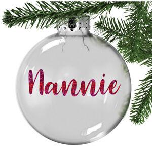 Personalised Nanny, Nannie Christmas Bauble Tree Decoration Keepsake, Memory