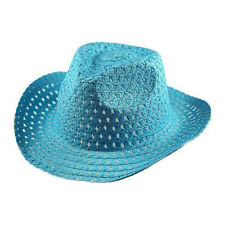 Boys Easter Bonnet Cowboy Synthetic Straw Hat - White, Blue, Yellow
