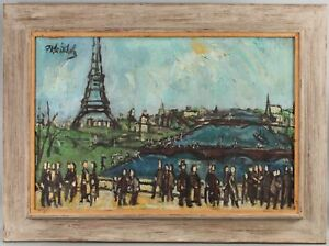 Original FRANK KLEINHOLZ French Mid-Century Modern Paris Eiffel Tower Painting