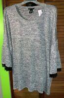 Tunic Dress Barn, Women's Gray Tunic Glitter Top Sleeve: 3/4 & Bell, Size: 3X