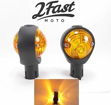 Black Bullseye Bar End Turn Signals Winker Flasher Blinker Amber Suzuki Kawasaki