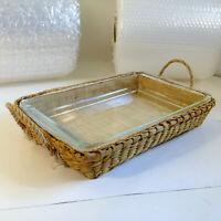"Vintage PYREX Clear Glass 3 Qt  9""x13"" Cake Pan Casserole Dish w/ Wicker Basket"