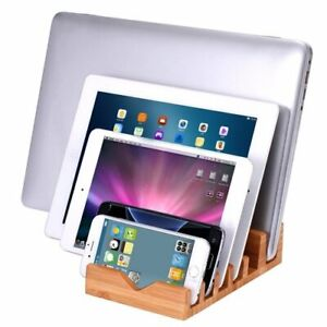 6 Slot Bamboo Charging Station Stand Dock Multi Device Organizer For iPhone iPad