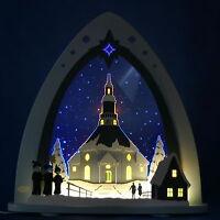 LED-Schwibbogen Lichterspitze Seiffener Kirche Seiffen Weigla Erzgebirge Neu