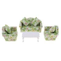 1/12 Dollhouse Living Room Furniture Sofa Couch w. Cushion Set & End Table
