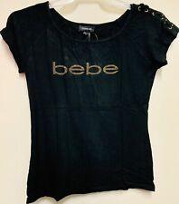 Bebe shirt Black for Women's T-shirt Shining stones #0105-R4