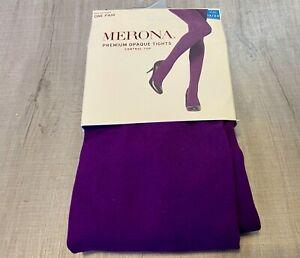 NEW 1 PR Merona Plum Purple Opaque TightsSize 1X/2X (190-245 lbs) Nylon Spandex