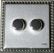 Screwless Face Light Dimmer Switch Push on off 2 Way - Quality Made in UK Classic Silver 1 Gang