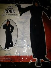Nylon Horror Robe Halloween Costume with Hood for Adults Black One Size
