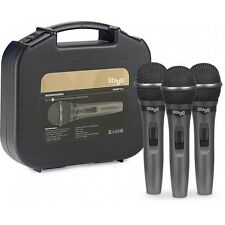 More details for stagg sdmp15-3 3-piece set of dynamic cardioid wired microphones