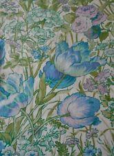 Vintage Retro English Botanical Floral Cotton Fabric ~ Aqua Blue Green Pink