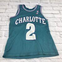 Throwback Basketball Men's 34-36 Jersey LARRY JOHNSON #2 Charlotte Hornets Teal