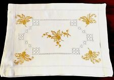 More details for vintage hand embroidered white linen gold thread nightdress case cushion cover