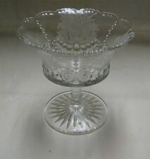Bead & Scroll EAPG Pressed Glass Compote w Floral Etching - Riverside Glass 1881