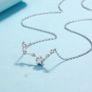 Fashion S925 Sterling Silver Star Ziron Crystal Pendant Women's Choker Necklaces