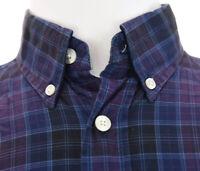 Turnbury Mens Purple Plaid Button Down Shirt Long Sleeve 100% Cotton Sz S 33