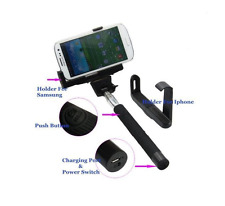 Monopod Bluetooth Extendable Selfie Stick Holder for iPhone and Samsung-Black