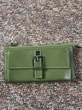 PERLINA Green Leather Wallet Clutch (Super soft leather)