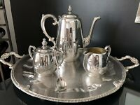 🔥 *CLEAN* Vintage Wm Rogers Tea / Coffee Set w/ Silver On Copper Tray 05 *RARE*