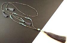 Handmade 1 Long Grey Tassel Dangle Turquoise Gemstone & Beaded Necklace # 1170