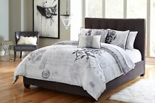 Colormate White & Gray Floral & Word Print Laverne 5-Piece Comforter Set, King