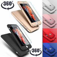 Hybrid 360° Ultra Thin Hard Case Tempered Glass For iPhone 7 Plus iPhone 8 Plus