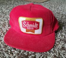 Vtg Schmidt Beer Patch Hat Snapback Corduroy Cap Red
