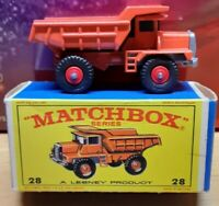Matchbox Lesney Mack Dump Truck #28 red wheels 1 MINT