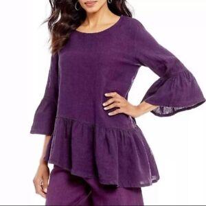 ($128) Bryn Walker 100% Linen Blouse asymmetrical hem Purple