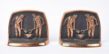Vintage Pair Cast Iron Foundry Worker Bookends