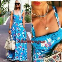 Zara New Blue Floral Print Maxi Long Flowing Back Bow Dress Size Xs 6 8