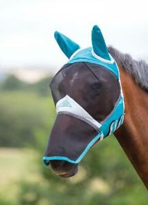 Shires Fine Mesh Fly Mask With Ears and Nose in Teal, UV Protection
