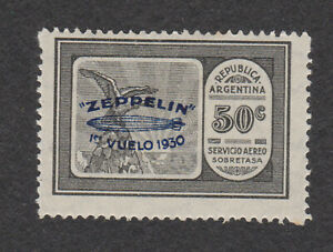 Argentina sc# C21 MH OG stamp 1930 Airmail Air Mail *creases* Blue ovpt Zeppelin