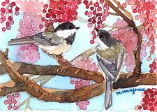 ACEO Limited Edition- Daydreaming, ChickadeesArt print of an original watercolor